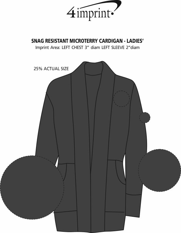 Imprint Area of Snag Resistant Microterry Cardigan - Ladies'