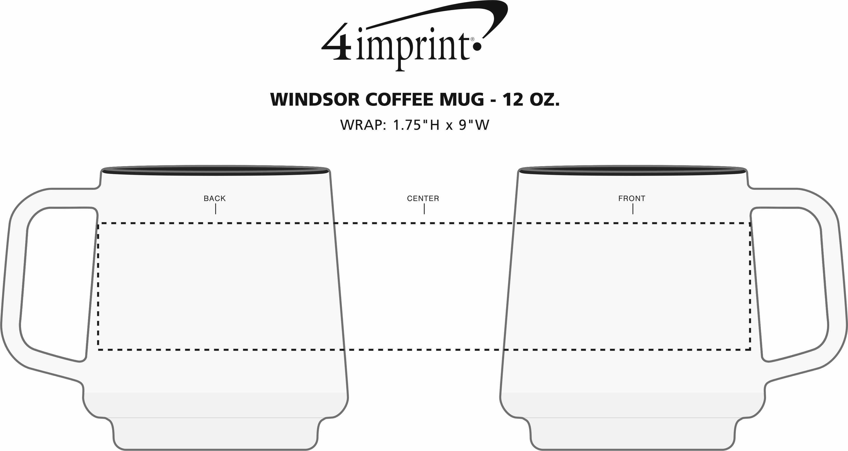 Imprint Area of Windsor Coffee Mug - 12 oz.