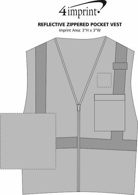 Imprint Area of Reflective Zippered Pocket Vest