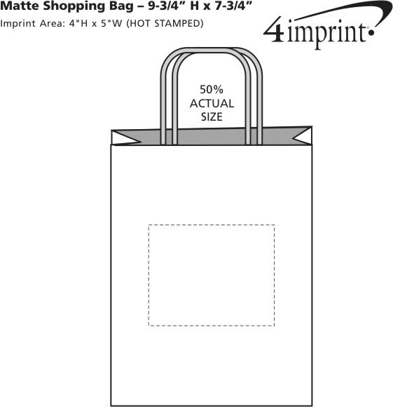 "Imprint Area of Matte Shopping Bag - 9-3/4"" x 7-3/4"""