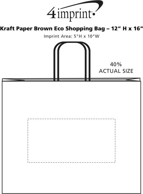 "Imprint Area of Kraft Paper Brown Eco Shopping Bag - 12"" x 16"""