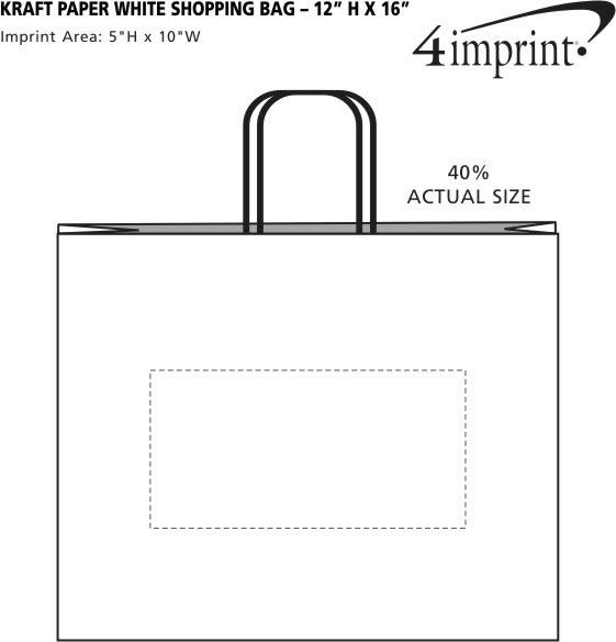 "Imprint Area of Kraft Paper White Shopping Bag - 12"" x 16"""