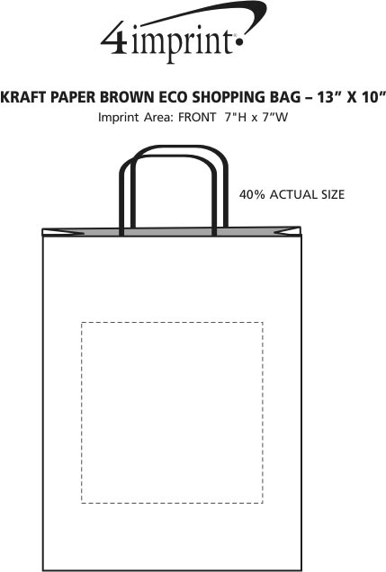 "Imprint Area of Kraft Paper Brown Eco Shopping Bag - 13"" x 10"""