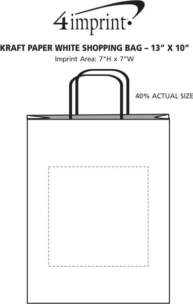 "Imprint Area of Kraft Paper White Shopping Bag - 13"" x 10"""