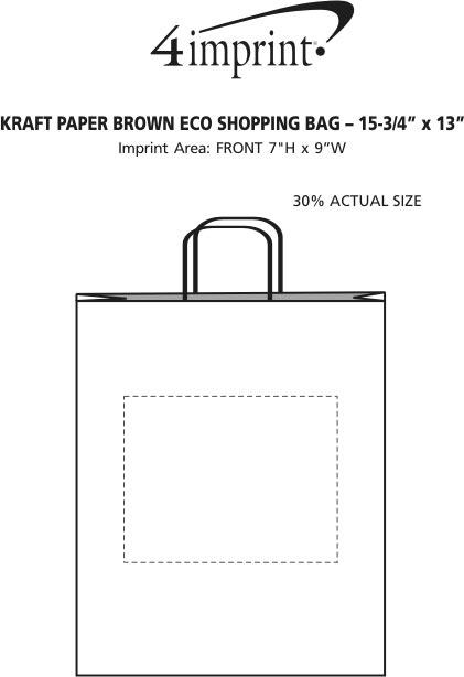 "Imprint Area of Kraft Paper Brown Eco Shopping Bag - 15-3/4"" x 13"""