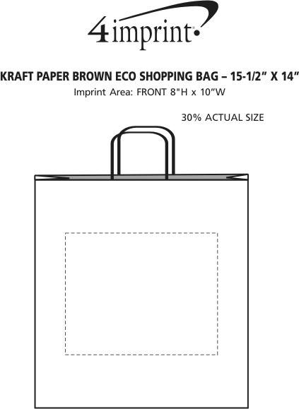 "Imprint Area of Kraft Paper Brown Eco Shopping Bag - 15-1/2"" x 14"""