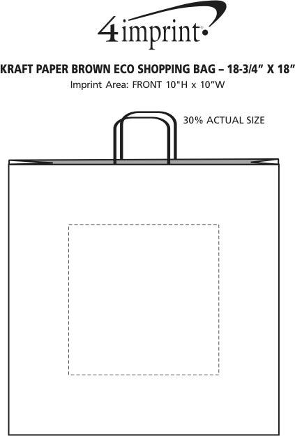 "Imprint Area of Kraft Paper Brown Eco Shopping Bag - 18-3/4"" x 18"""