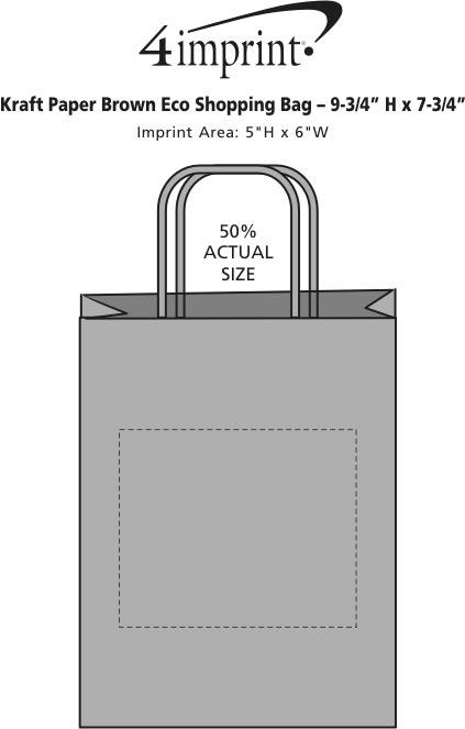 "Imprint Area of Kraft Paper Brown Eco Shopping Bag - 9-3/4"" x 7-3/4"""