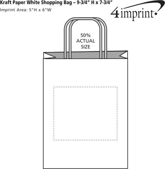 "Imprint Area of Kraft Paper White Shopping Bag - 9-3/4"" x 7-3/4"""