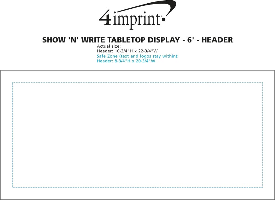 Imprint Area of Show N Write Tabletop Display - 6' - Header