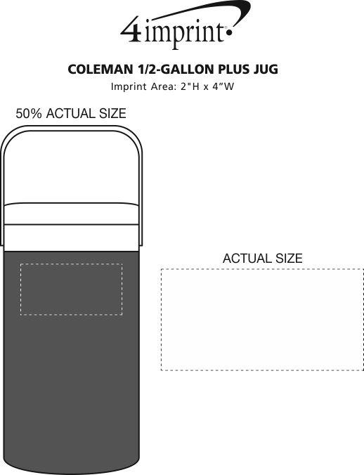 Imprint Area of Coleman 1/2-Gallon Plus Jug