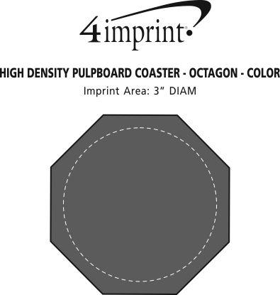 Imprint Area of High-Density Pulpboard Coaster - Octagon - Color