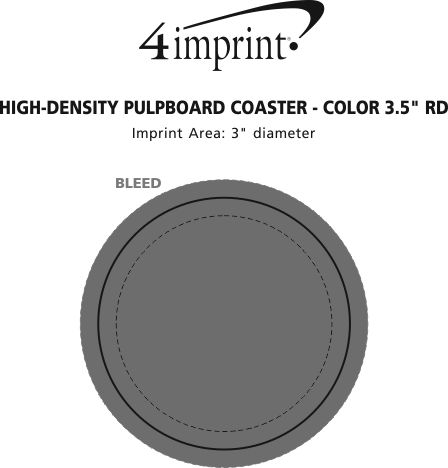 "Imprint Area of High-Density Pulpboard Coaster - 3.5"" Round - Color"