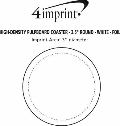 "Imprint Area of High-Density Pulpboard Coaster - 3.5"" Round - White - Foil"