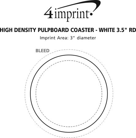 "Imprint Area of High-Density Pulpboard Coaster - 3.5"" Round - White"