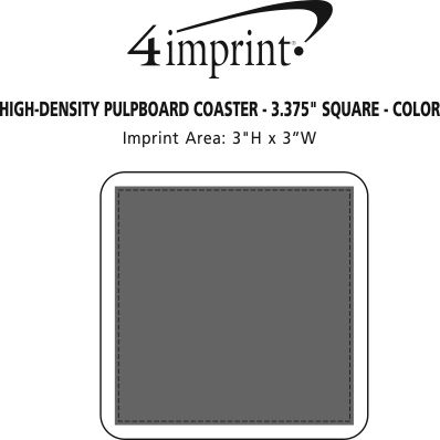 "Imprint Area of High-Density Pulpboard Coaster - 3.375"" Square - Color"