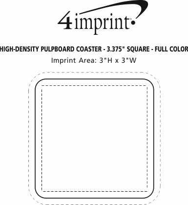 "Imprint Area of High-Density Pulpboard Coaster - 3.375"" Square - Full Color"