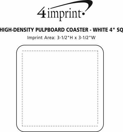 "Imprint Area of High-Density Pulpboard Coaster - 4"" Square - White"