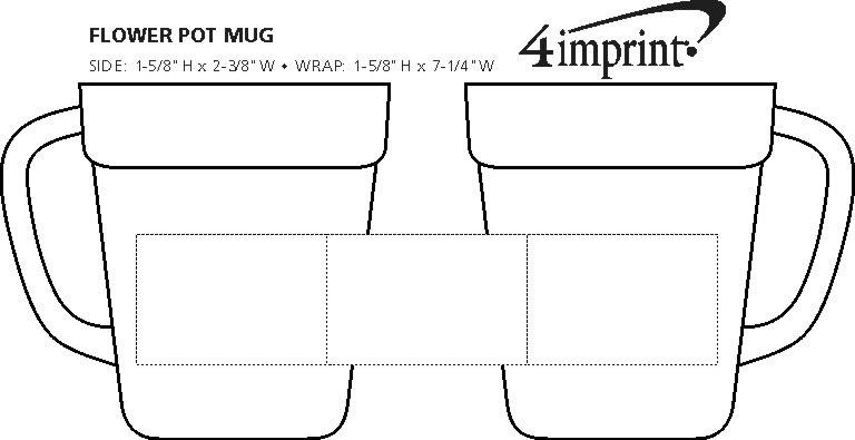 Imprint Area of Flower Pot Mug - 14 oz.