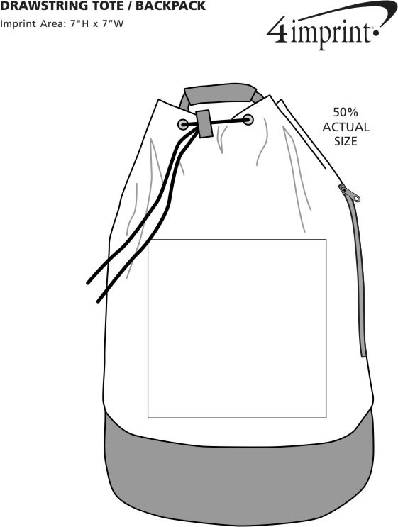 Imprint Area of Drawstring Tote Backpack