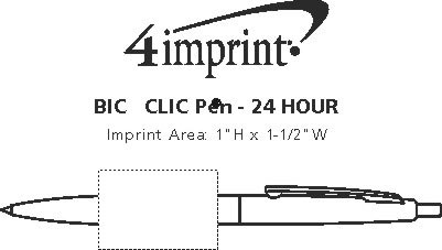 Imprint Area of Bic Clic Pen - 24 hr
