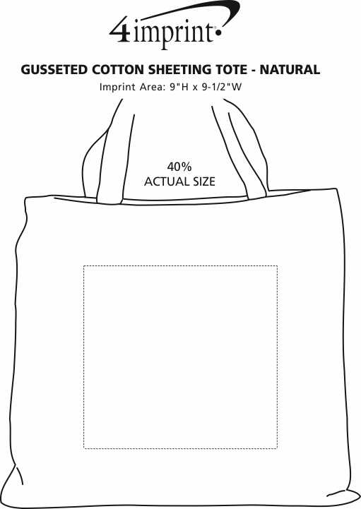 Imprint Area of Gusseted Cotton Sheeting Tote - Natural