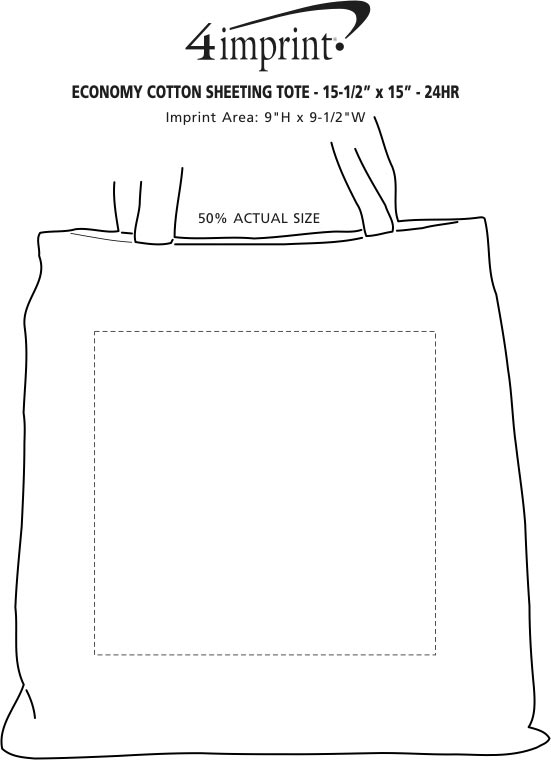 "Imprint Area of Cotton Sheeting Colored Economy Tote - 15-1/2"" x 15"" - 24 hr"