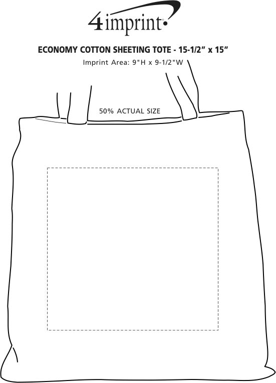 """Imprint Area of Cotton Sheeting Colored Economy Tote - 15-1/2"""" x 15"""""""