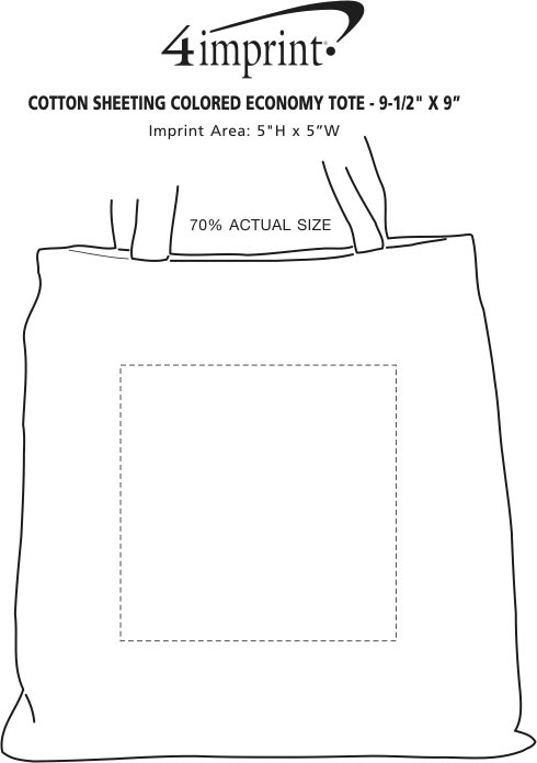 """Imprint Area of Cotton Sheeting Colored Economy Tote - 9-1/2"""" x 9"""""""