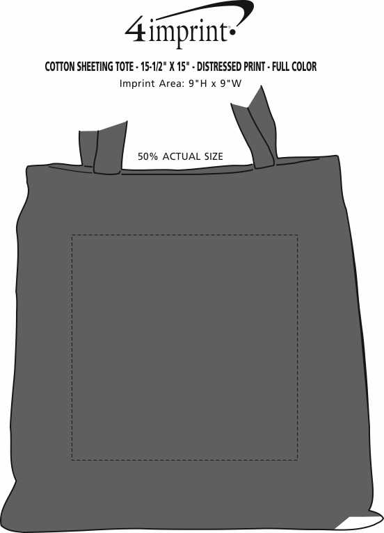 """Imprint Area of Cotton Sheeting Tote - 15-1/2"""" x 15"""" - Distressed Print - Full Color"""