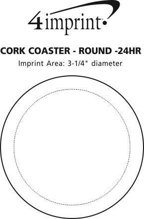 Imprint Area of Cork Coaster - Circle - 24 hr