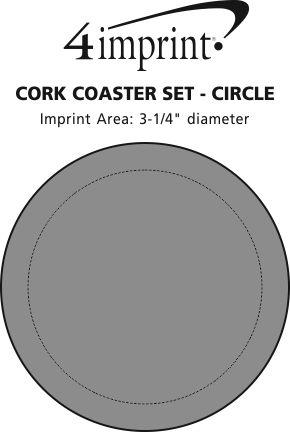 Imprint Area of Cork Coaster Set - Circle