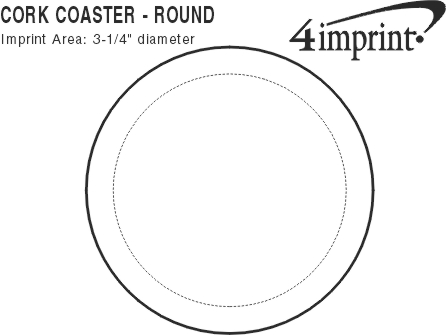 Imprint Area of Cork Coaster - Circle