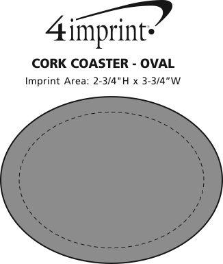 Imprint Area of Cork Coaster - Oval