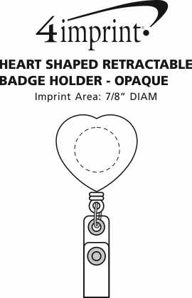 Imprint Area of Heart Shaped Retractable Badge Holder - Opaque