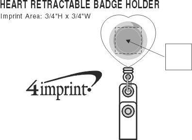 Imprint Area of Heart Shaped Retractable Badge Holder - Translucent
