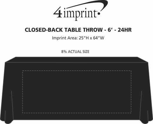 Imprint Area of Serged Closed-Back Table Throw - 6' - 24 hr