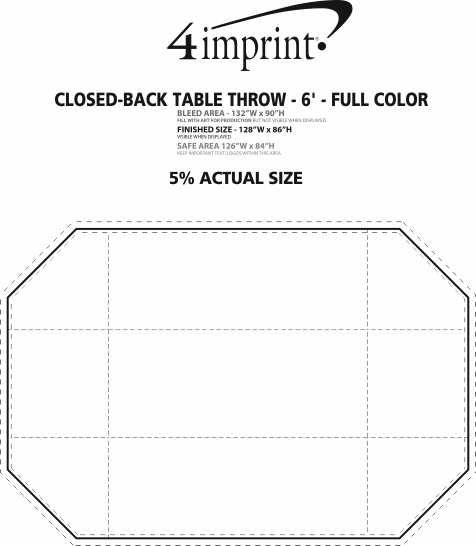 Imprint Area of Serged Closed-Back Table Throw - 6' - Full Color
