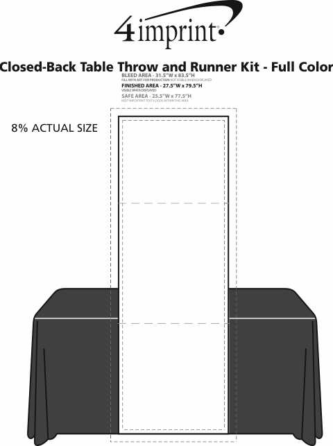 Imprint Area of Serged 6' Closed-Back Table Throw and Runner Kit - Full Color