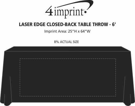 Imprint Area of Laser Edge Closed-Back Table Throw - 6'