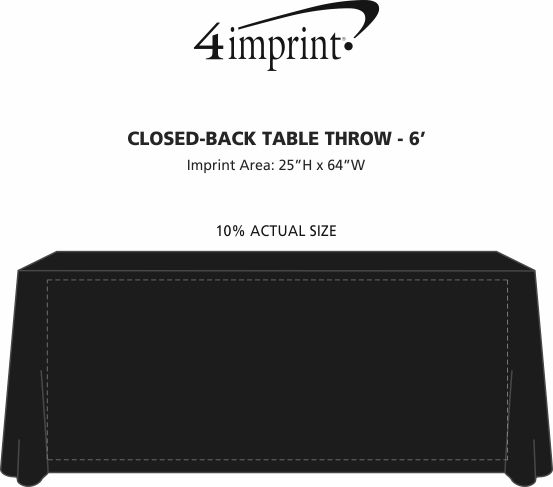 Imprint Area of Serged Closed-Back Table Throw - 6'