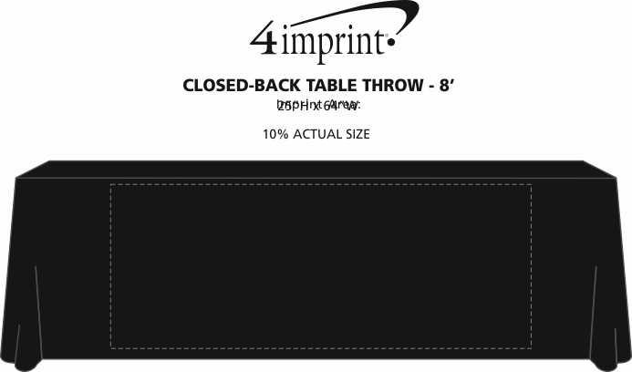Imprint Area of Serged Closed-Back Table Throw - 8' - 24 hr