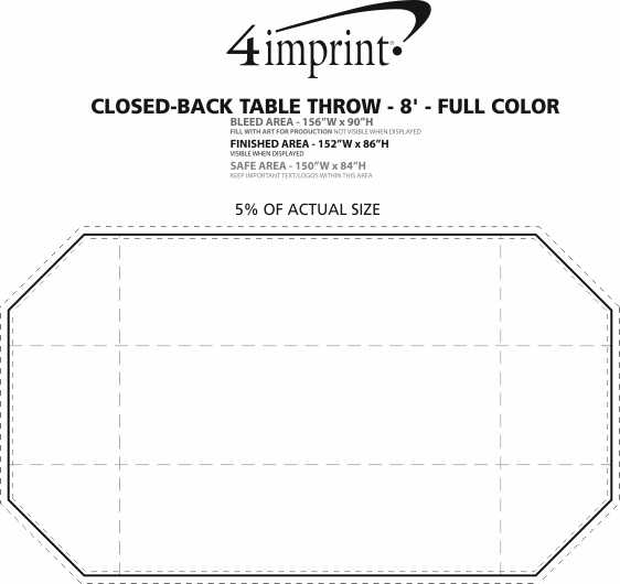 Imprint Area of Serged Closed-Back Table Throw - 8' - Full Color