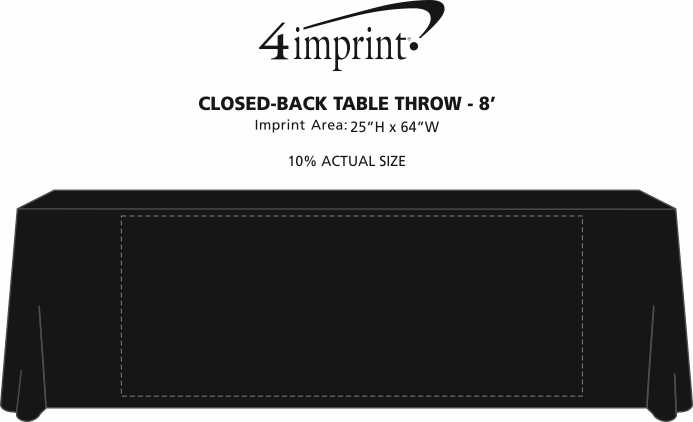 Imprint Area of Serged Closed-Back Table Throw - 8'
