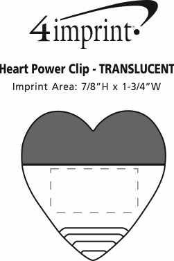 Imprint Area of Heart Power Clip - Translucent