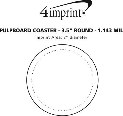 "Imprint Area of Pulpboard Coaster - 3.5"" Round - 1.143 mil."