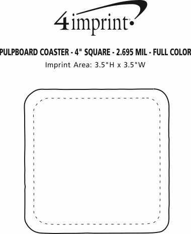 "Imprint Area of Pulpboard Coaster - 4"" Square - 2.695 mil. - Full Color"