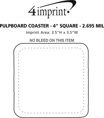"Imprint Area of Pulpboard Coaster - 4"" Square - 2.695 mil"