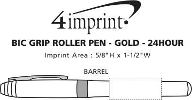 Imprint Area of Bic Grip Rollerball Pen - Gold - 24 hr