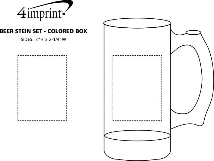Imprint Area of Beer Stein Set - 12 oz. - Colored Box